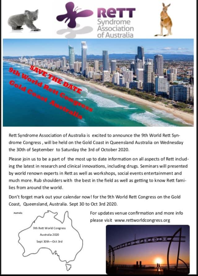9th World Rett Syndrome Congress, Australia – 30 September to 3 October 2020
